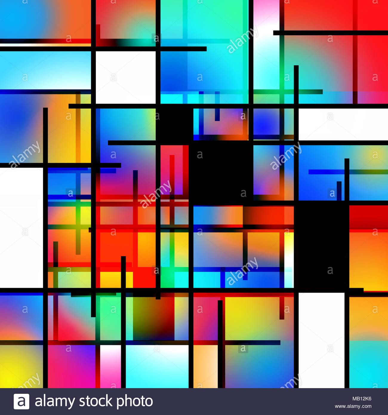 Colorful geometric background Mondrian inspired Stock Photo 1300x1390