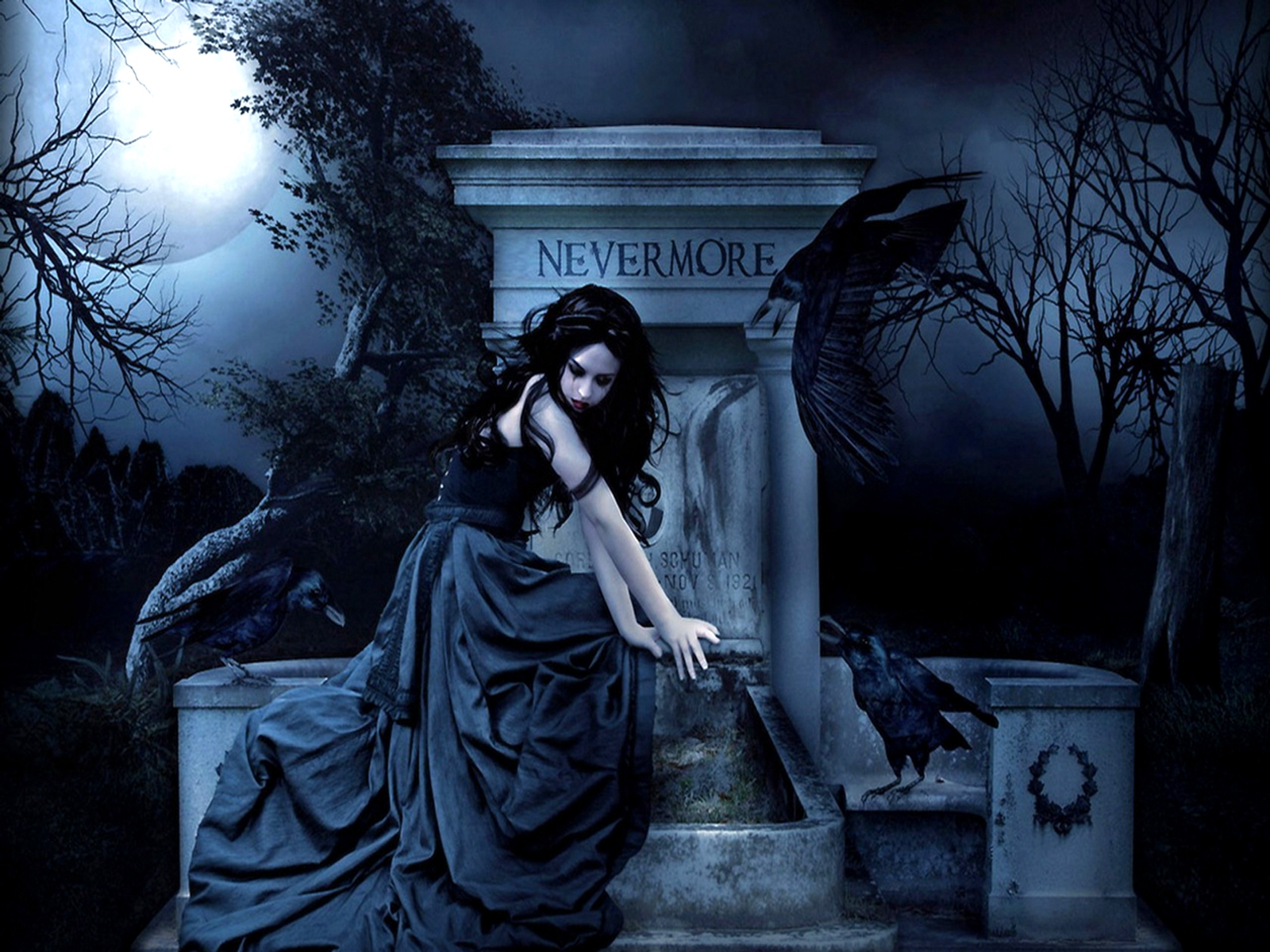 Gothic women dark fantasy poe raven wallpaper 1600x1200 28003 1600x1200