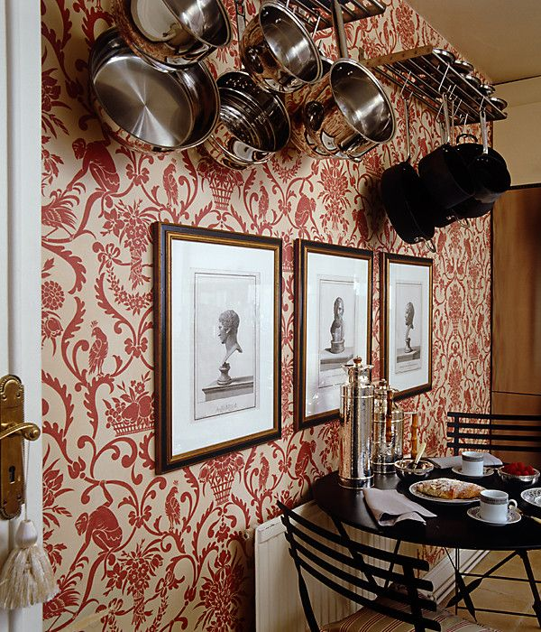 In a small kitchen why not use a bold wallpaper 600x700