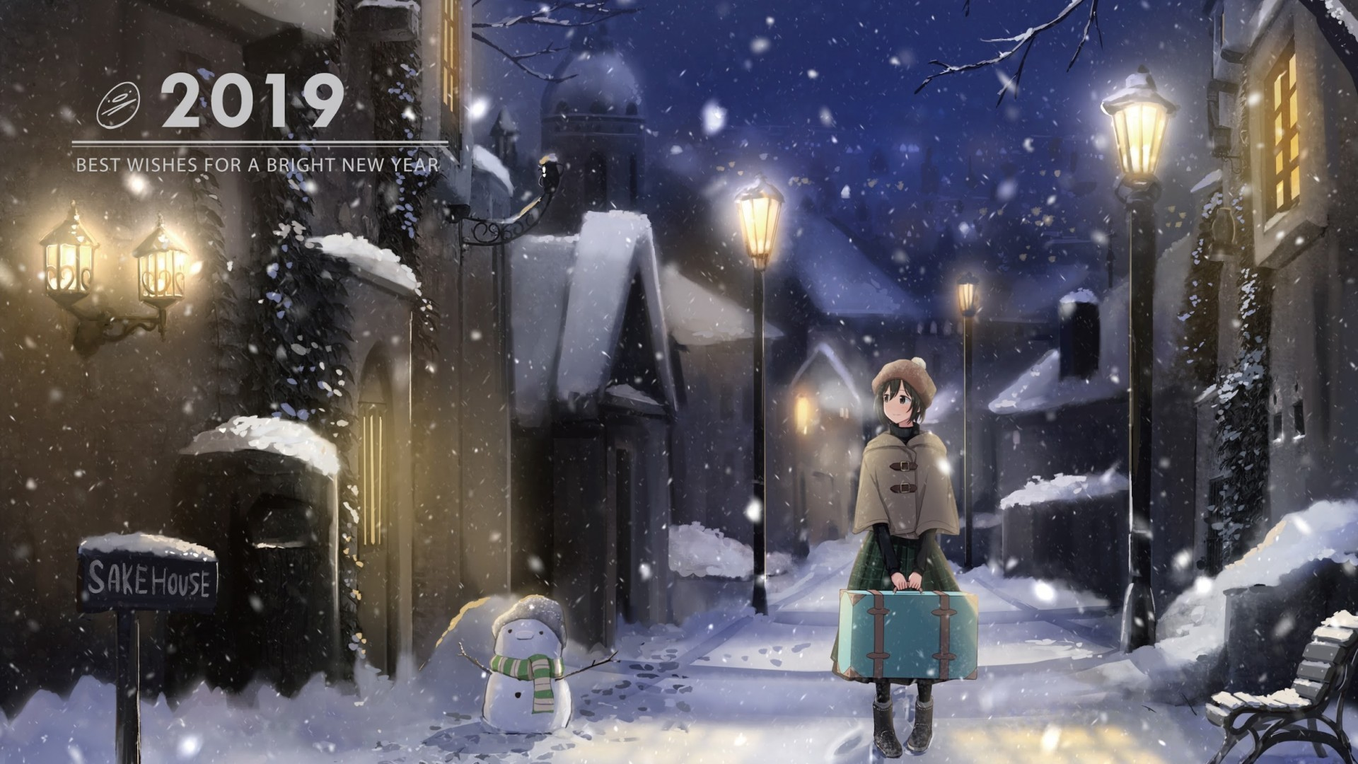 Download 1920x1080 Snow Anime Girl Winter Welcome 2019 Snowman 1920x1080