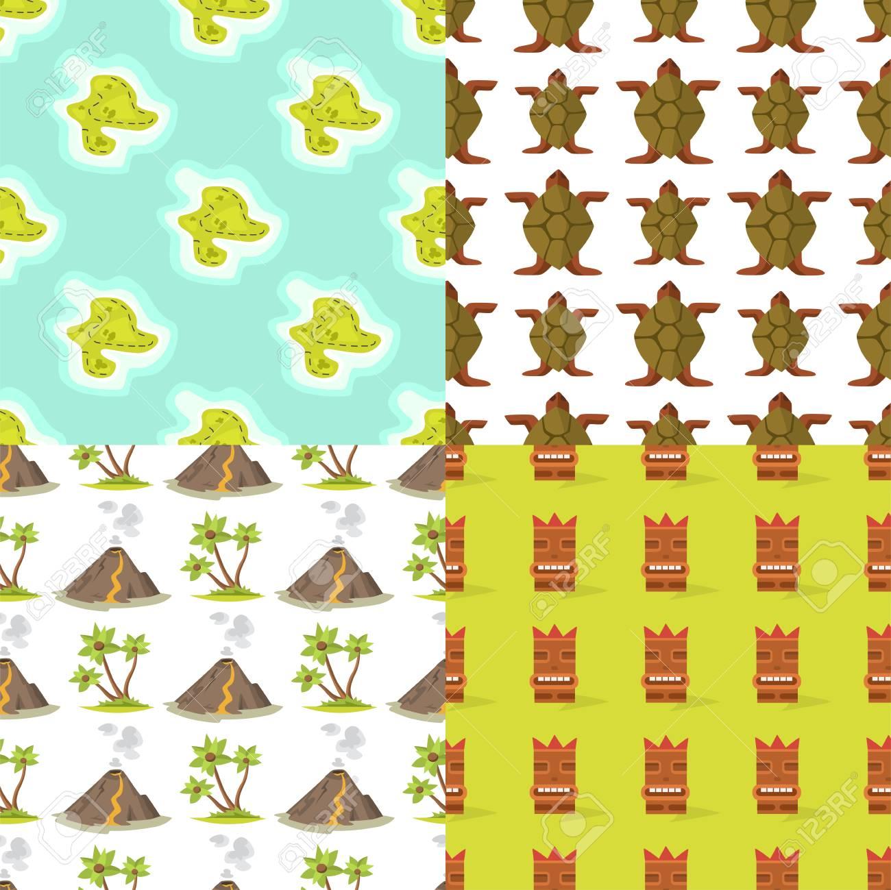 Cartoon Tropical Exotic Island In Ocean Seamless Pattern 1300x1299