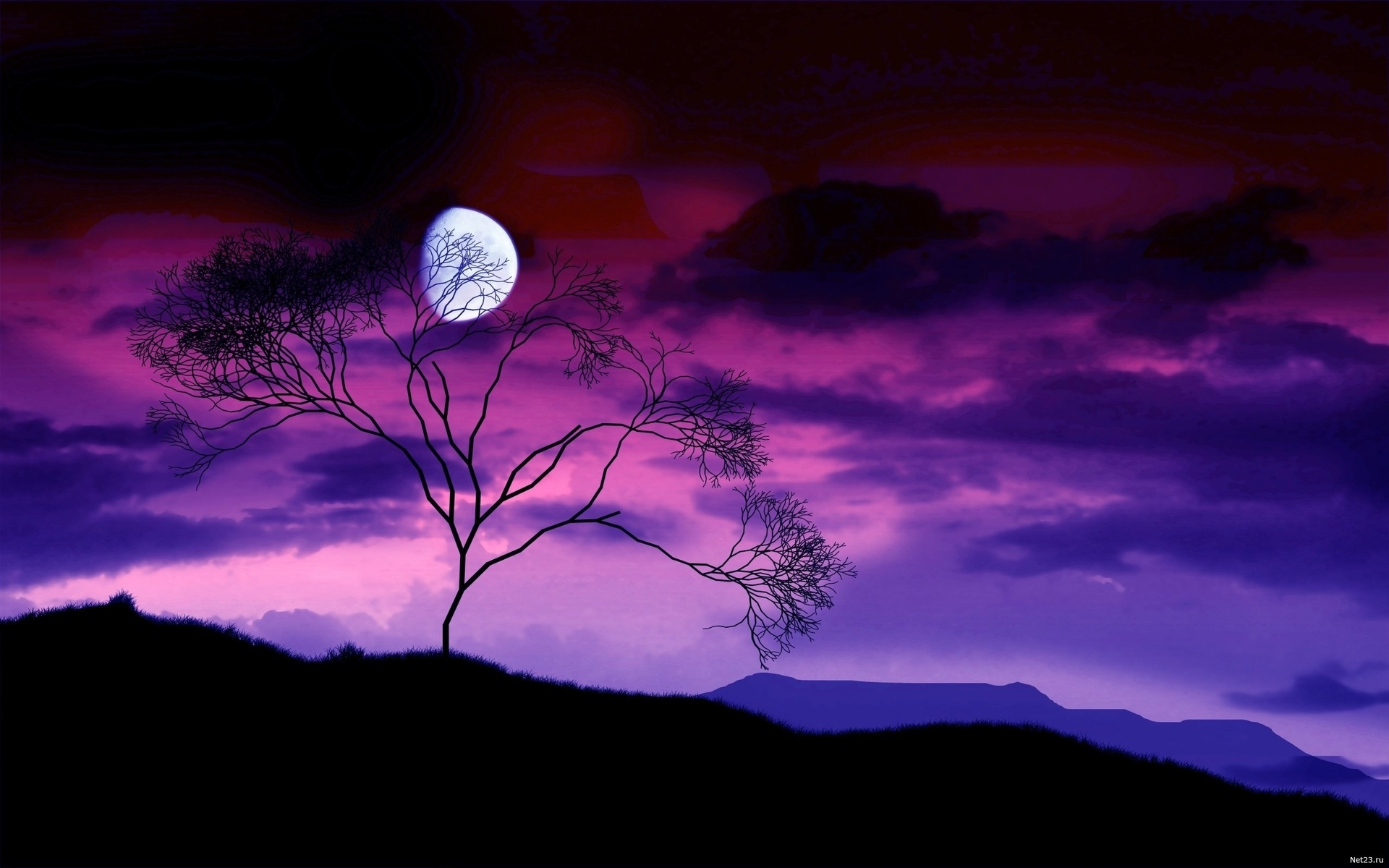 nature landscapes hills mountains sky clouds night dusk moon purple 1920x1200
