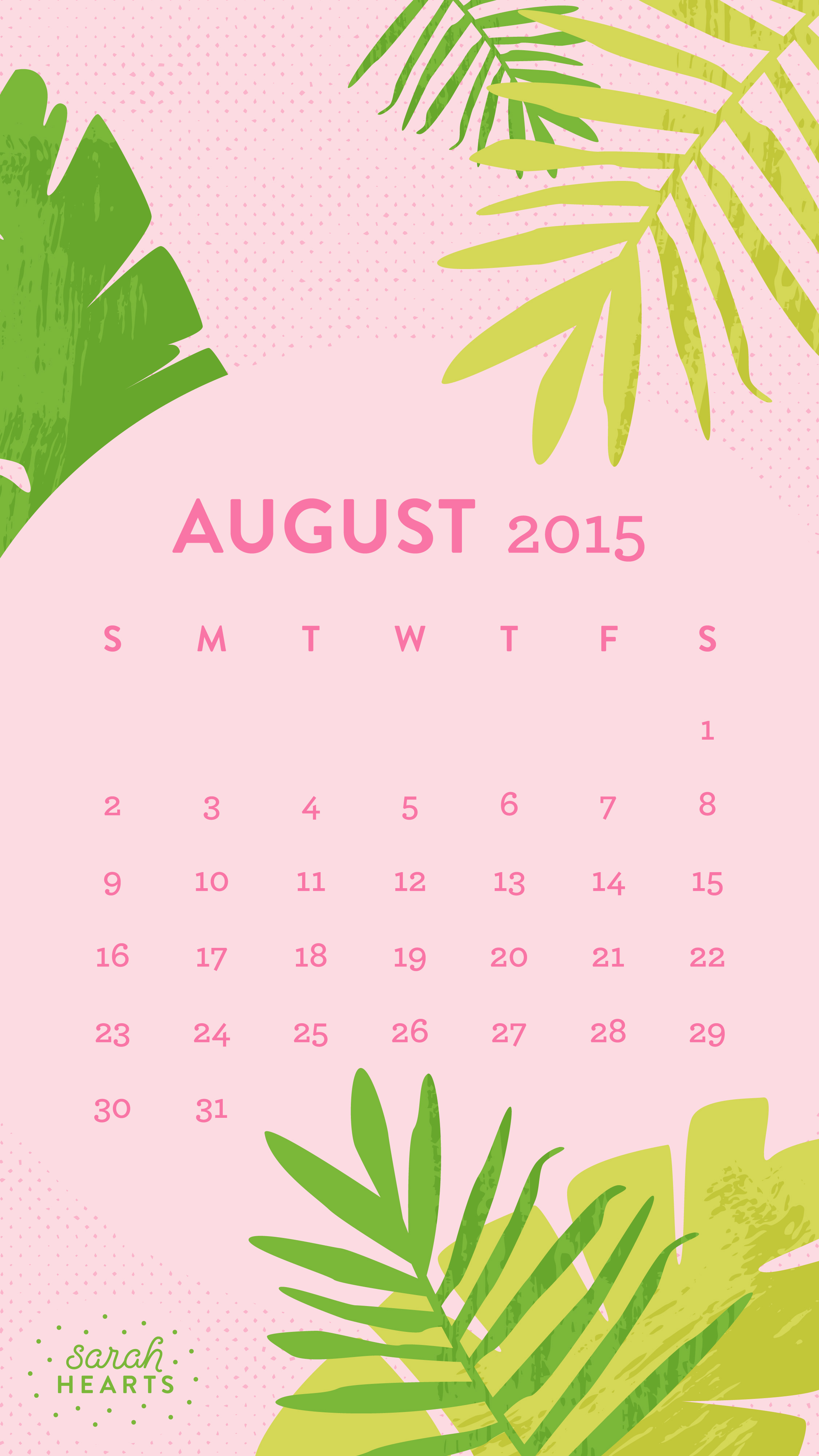 August 2015 Calendar Wallpaper   Sarah Hearts 2250x4000