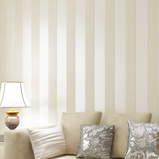Wallpaper Cream Beige brown Wide Band Stripe Prepasted Wallpaper 555x555
