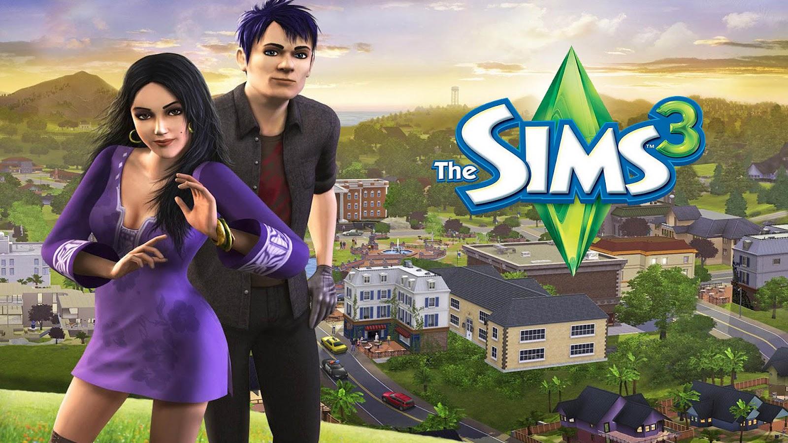 The Sims 3 wallpaper met een man en vrouw en een stad uit de Sims op 1600x900