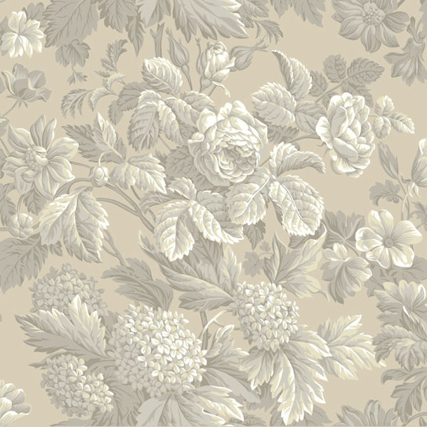 Beige and Grey Antique Floral Wallpaper   Wall Sticker Outlet 600x600