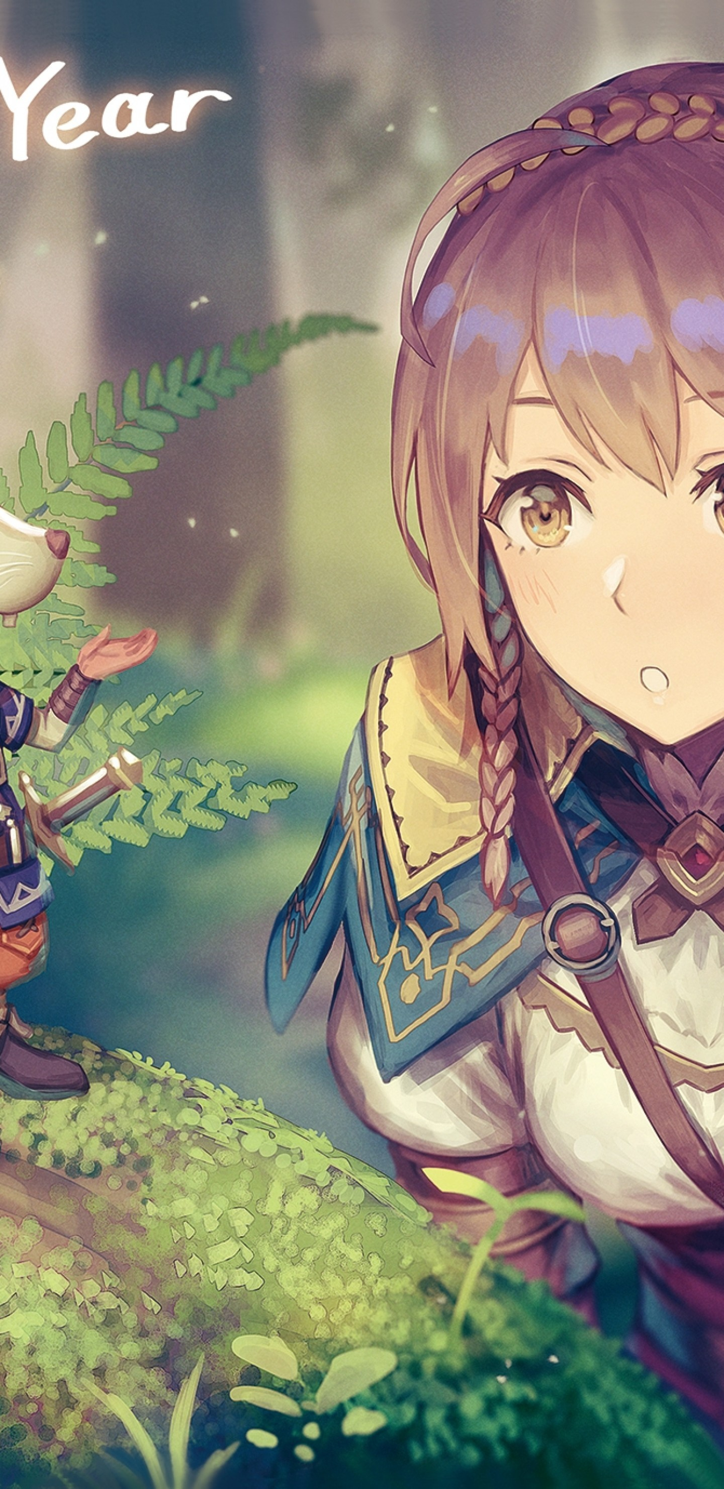 Download 1440x2960 Anime Girl Adventurer Forest Light Armor 1440x2960
