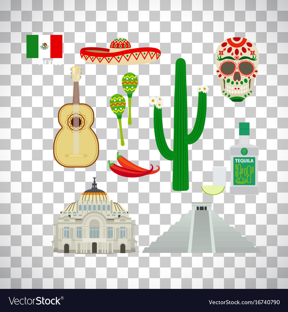 Mexico icons set on transparent background Vector Image 1000x1080