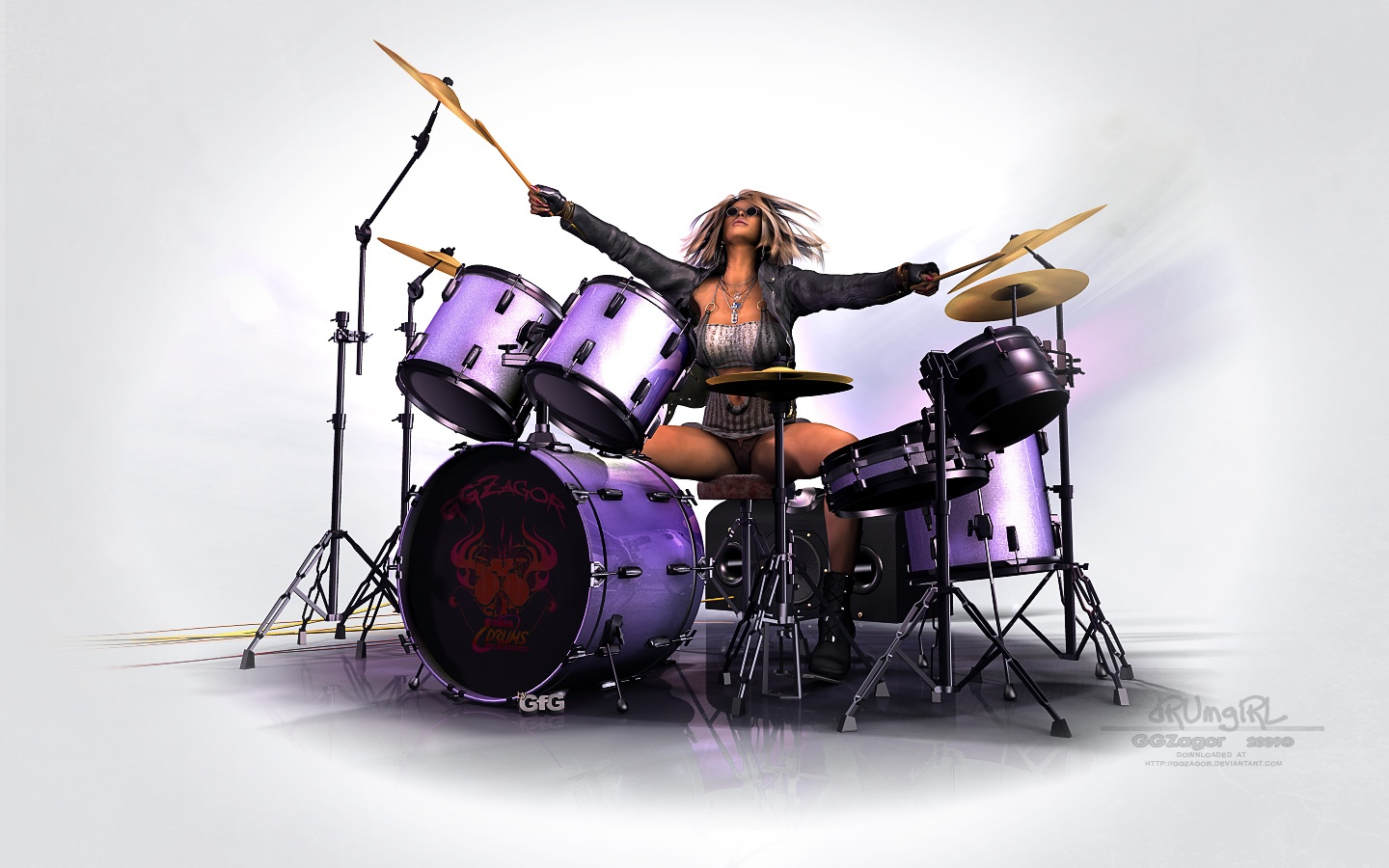 girl playing drums - HD 1280×800