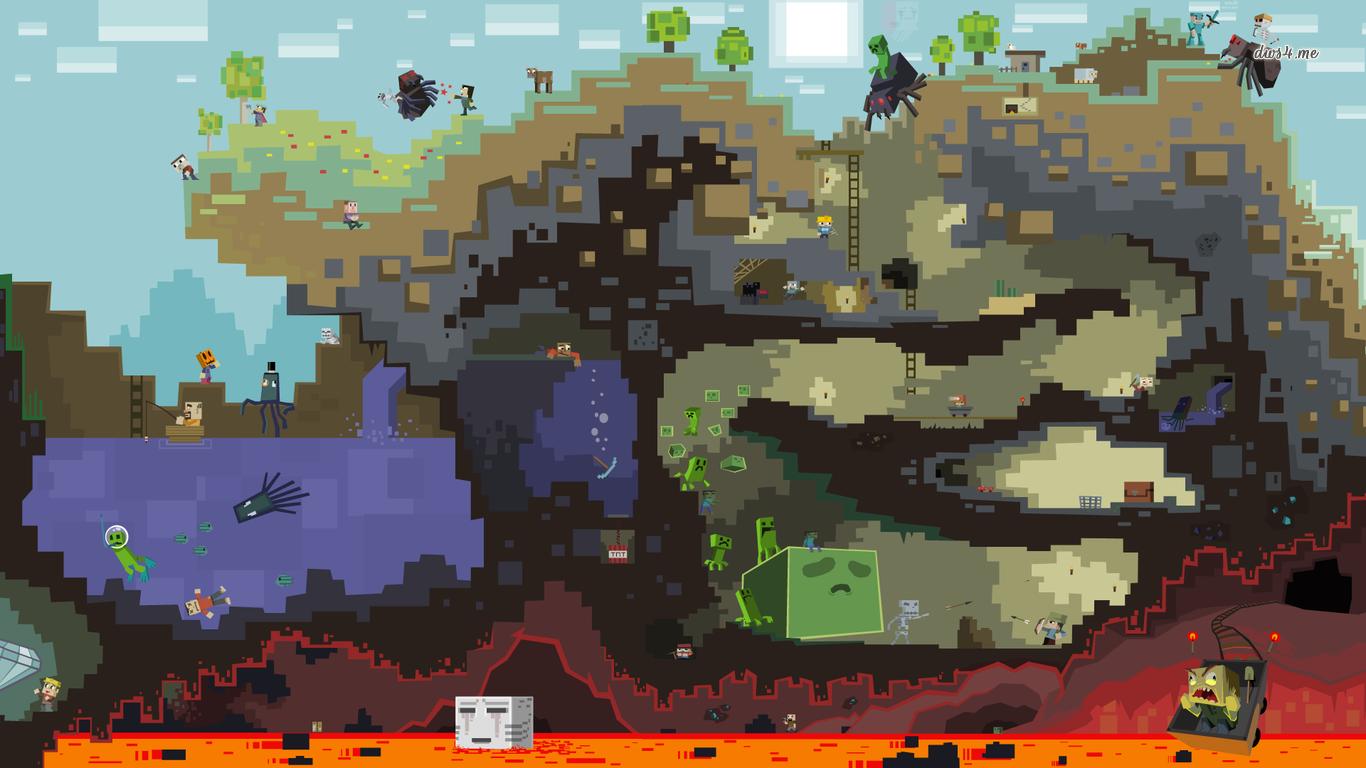47] Wallpapers Minecraft on WallpaperSafari 1366x768