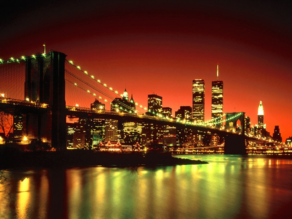 New York City night Wallpaper City Photos 1024x768