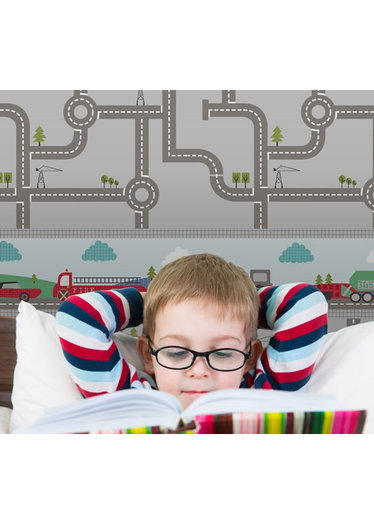 Transport wallpaper border with cars tractors trucks and lorries 374x524