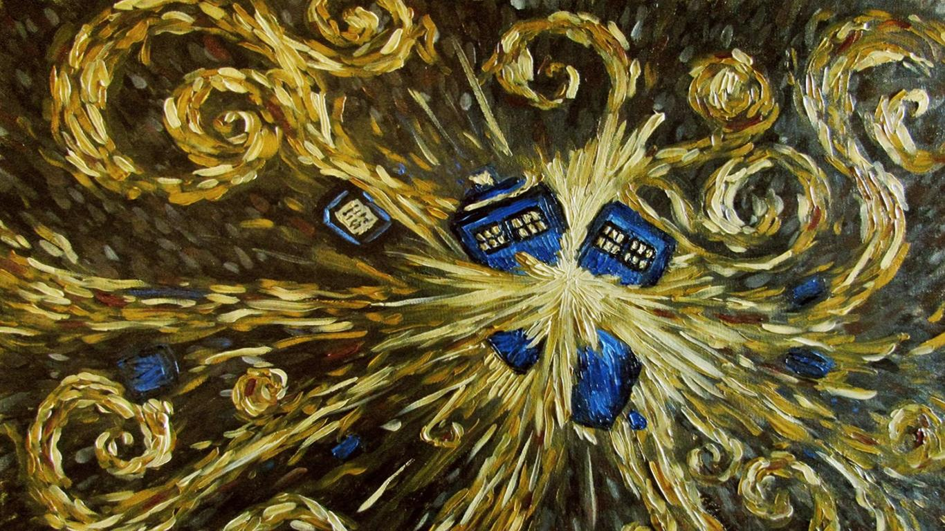 Request Van Goghs painting of the Tardis wallpapers 1366x768