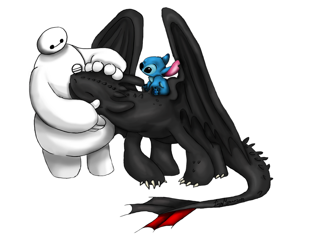 BAYMAX TOOTHLESS AND STICH by LisyMoreno 1024x768