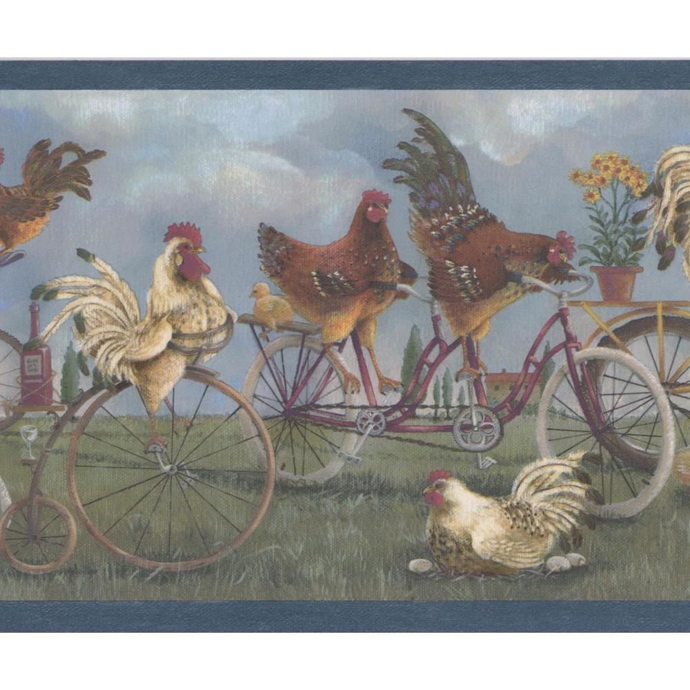 Retro Art White Roosters Brown Hens on Bikes Vintage Prepasted 1000x1000