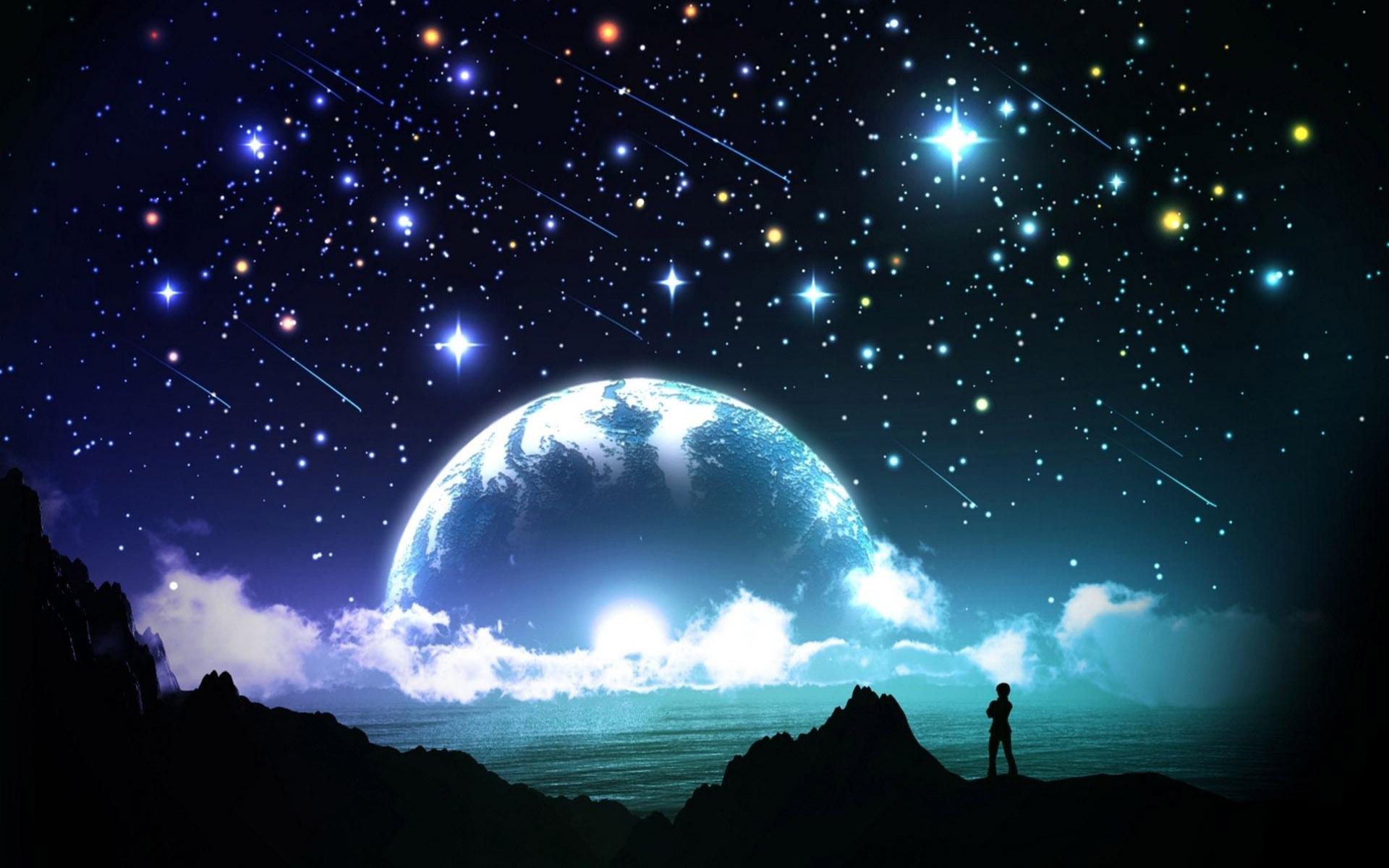 Night Moon Romance Love Stars Sky Clouds Wallpaper: [43+] Wallpaper Stars Sky Night On WallpaperSafari