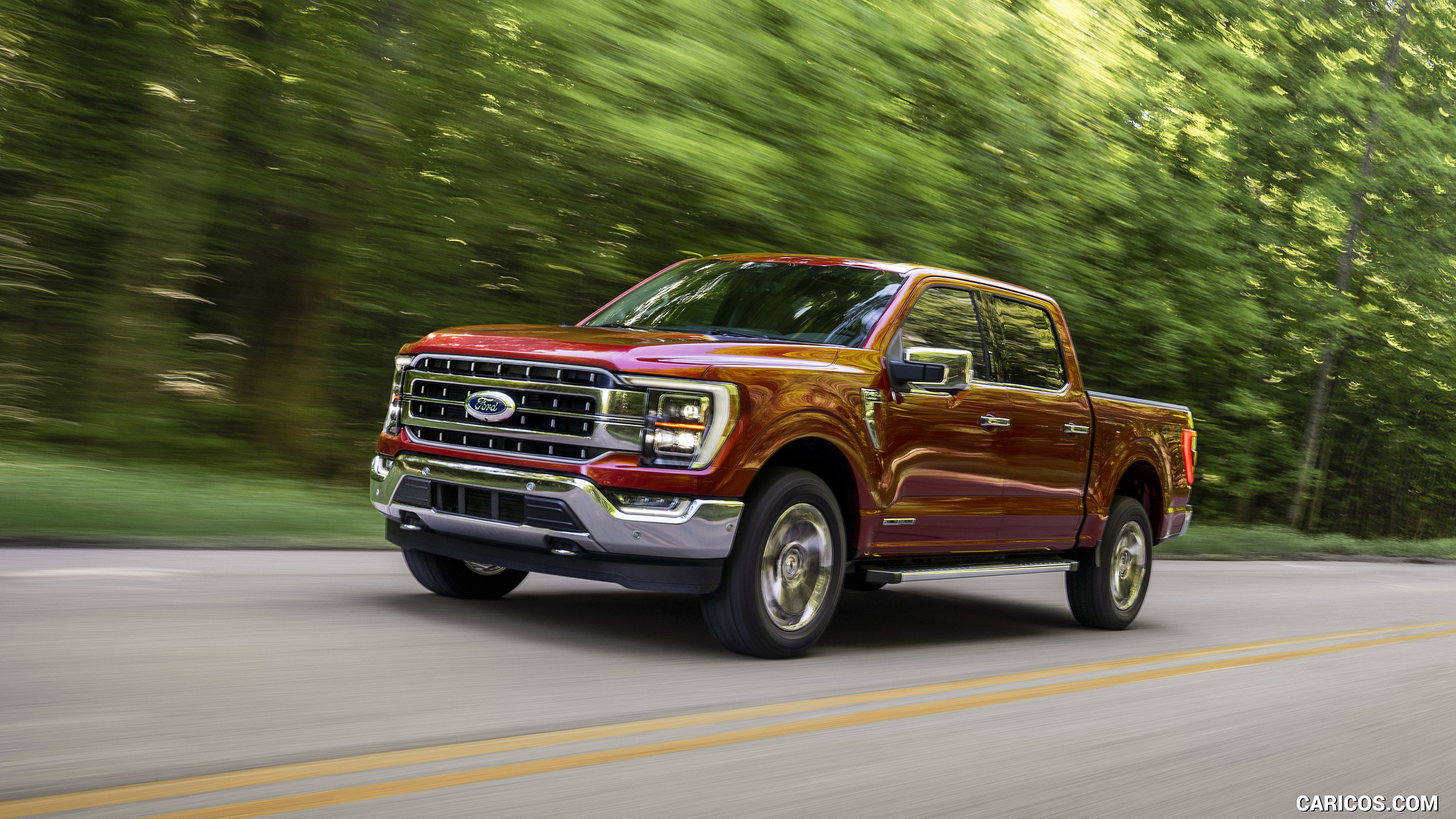 2021 Ford F 150 Lariat Color Rapid Red Metallic   Front Three 2560x1440