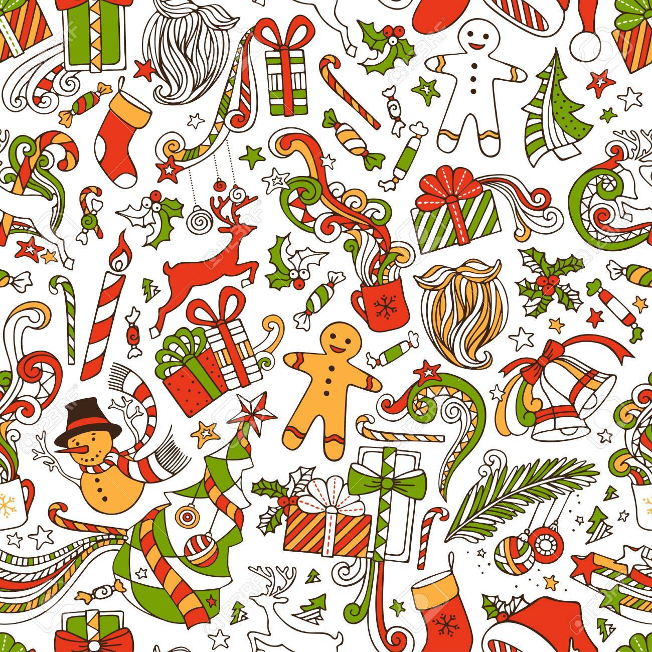 Boundless Funny Christmas Wallpaper Seamless Hand drawn Pattern 1300x1300