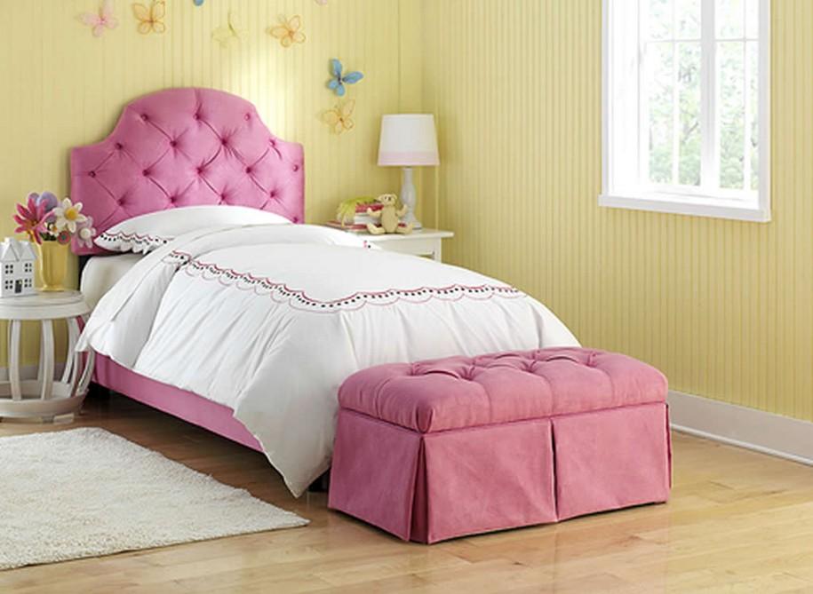 Girls Bedroom Furniture For Kids Brown Stripped Wallpaper White Rug 915x669