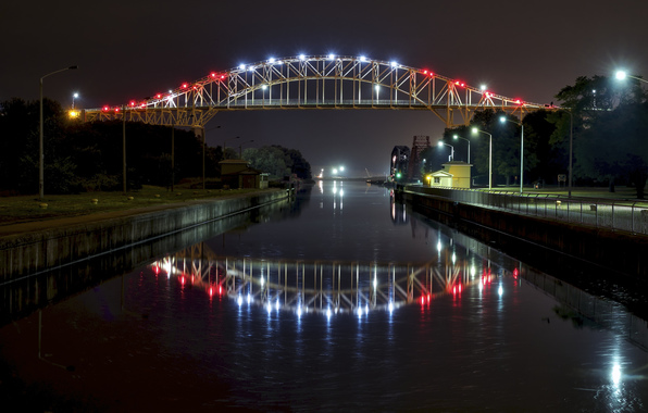 canada river bridge night lights wallpapers photos pictures 596x380
