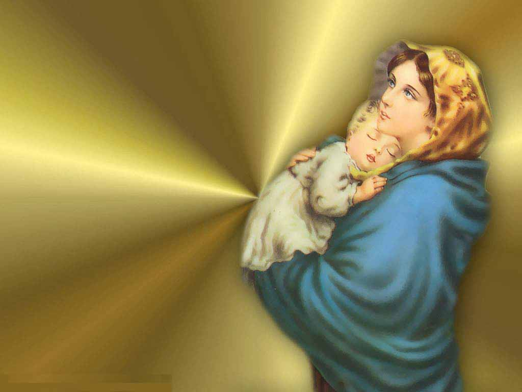 Mother Mary drawing art pictures with child Jesus wallpapers 1024x768