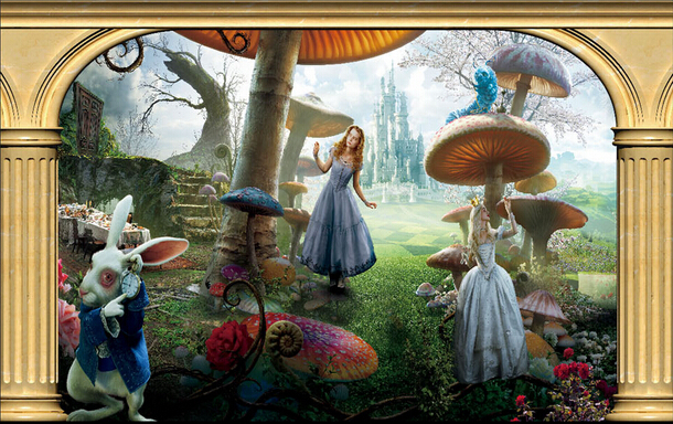 Alice in wonderland room wallpaper wallpapersafari for Alice in wonderland mural