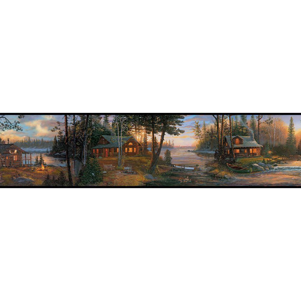 York Wallcoverings Lake Forest Lodge Cabin Fever Wallpaper Border 1000x1000