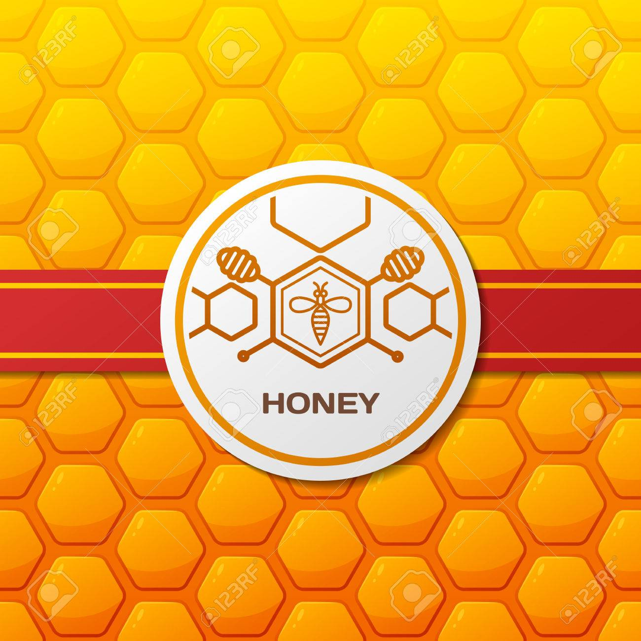 Vector Honey Label Design Elements Honeycombs Texture 1300x1300
