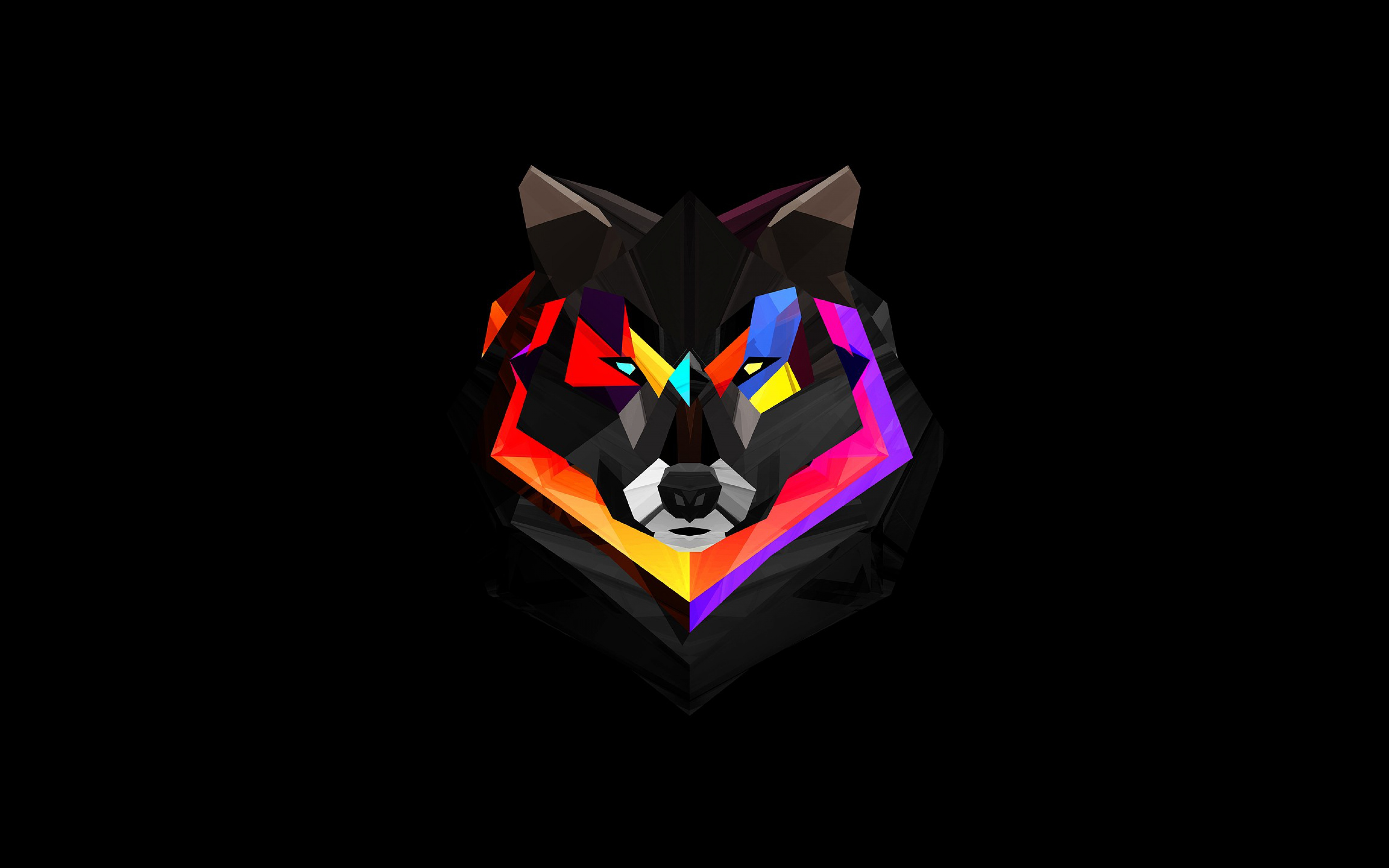 Wallpaper 3840x2400 wolf face abstract colorful Ultra HD 4K 3840x2400