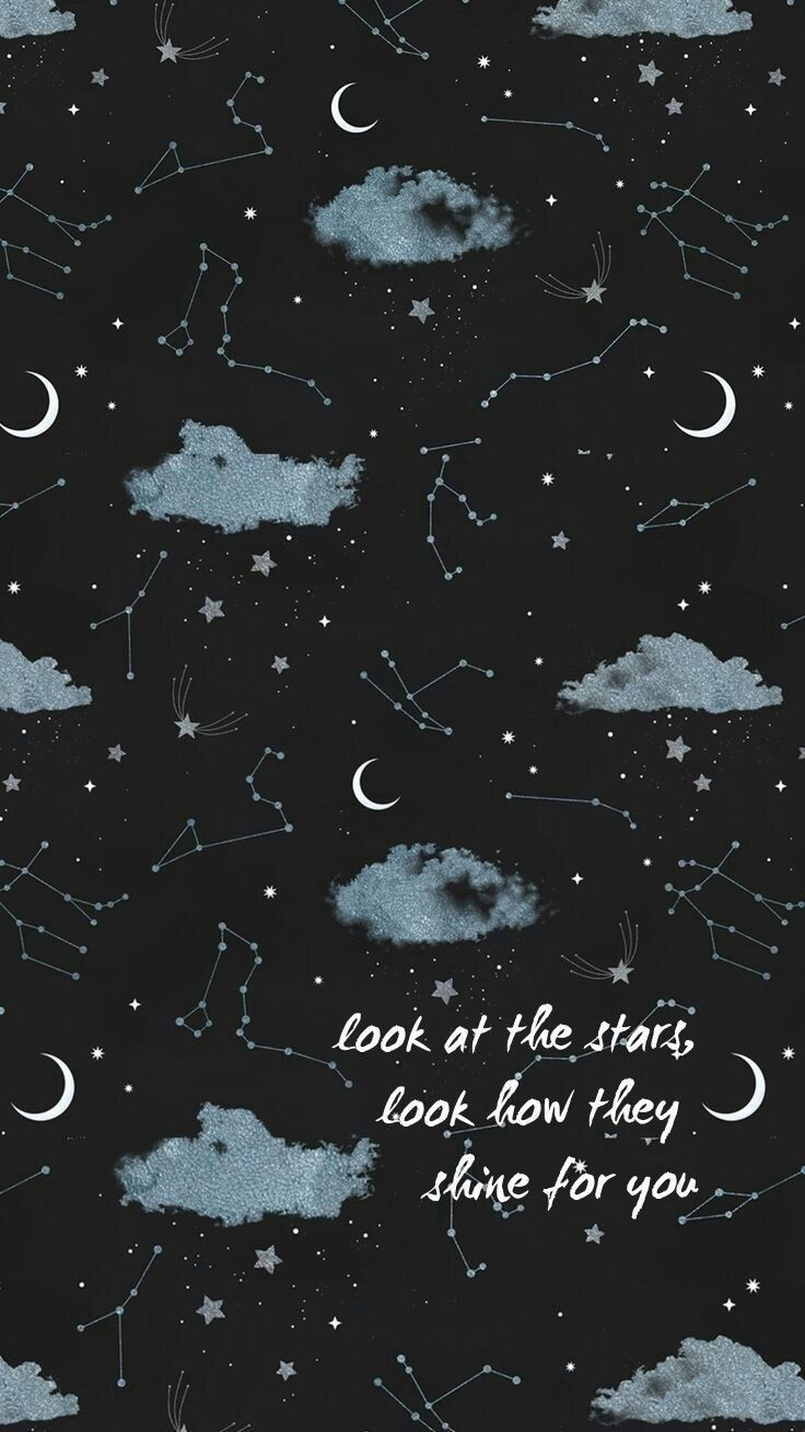 Iphone wallpaper aesthetic tumblr sky stars moon shine galaxy 736x1308