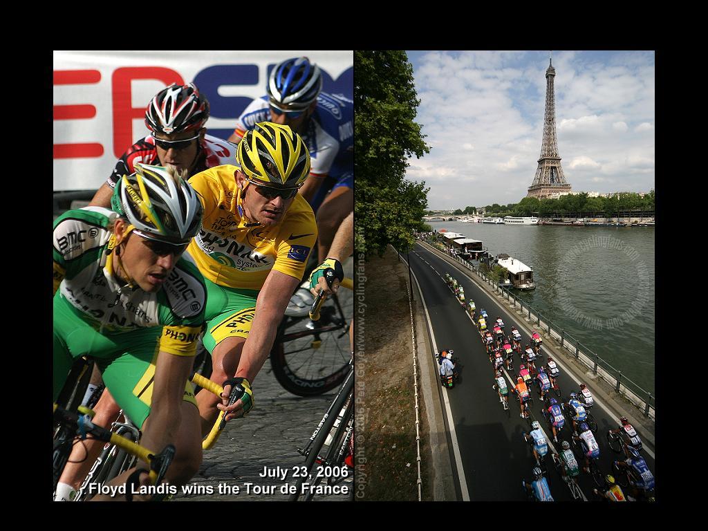 wwwcyclingfanscom   Floyd Landis in Yellow Jersey 2006 1024x768