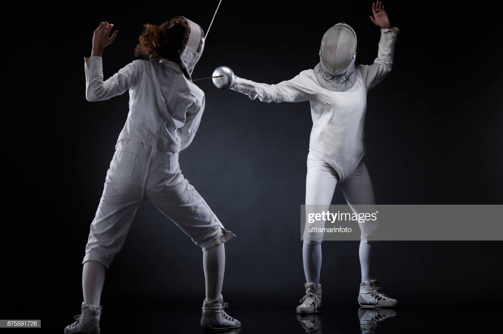 Fencing Sport Competition Duel Dark Black Background Sporting 1024x679