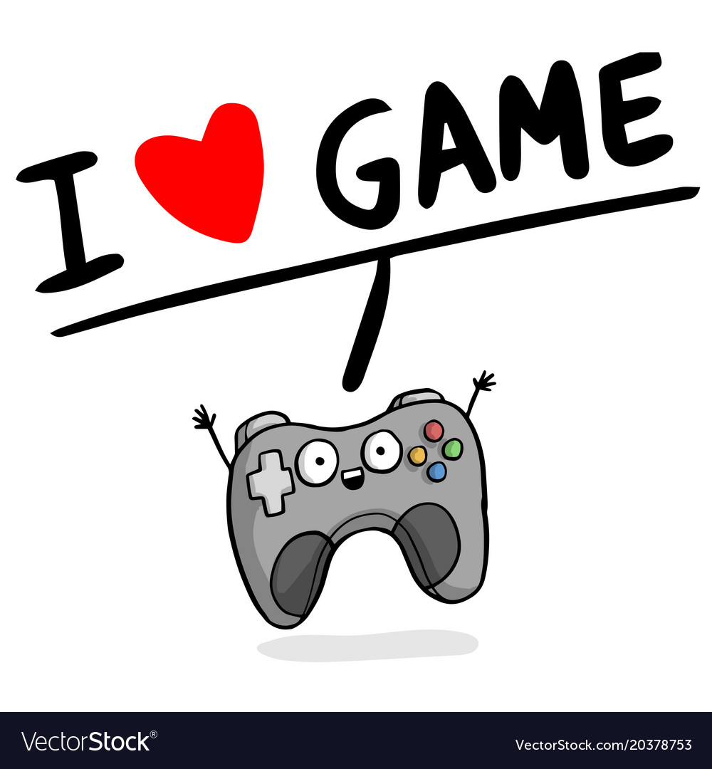 I love game joystick heart background image Vector Image 1000x1080