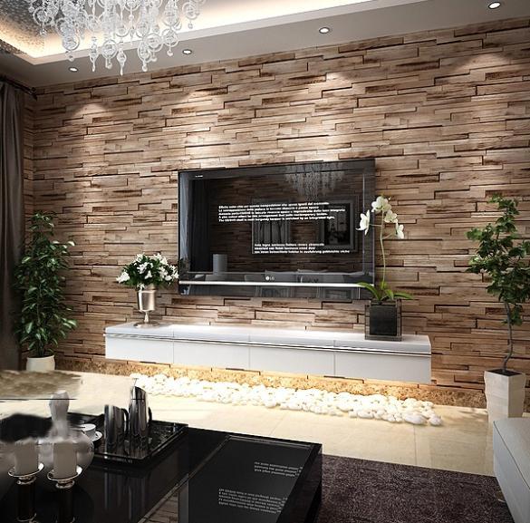 Aliexpresscom Buy PVC Wood Stone Brick Wallpaper 3D Modern Wall 585x577