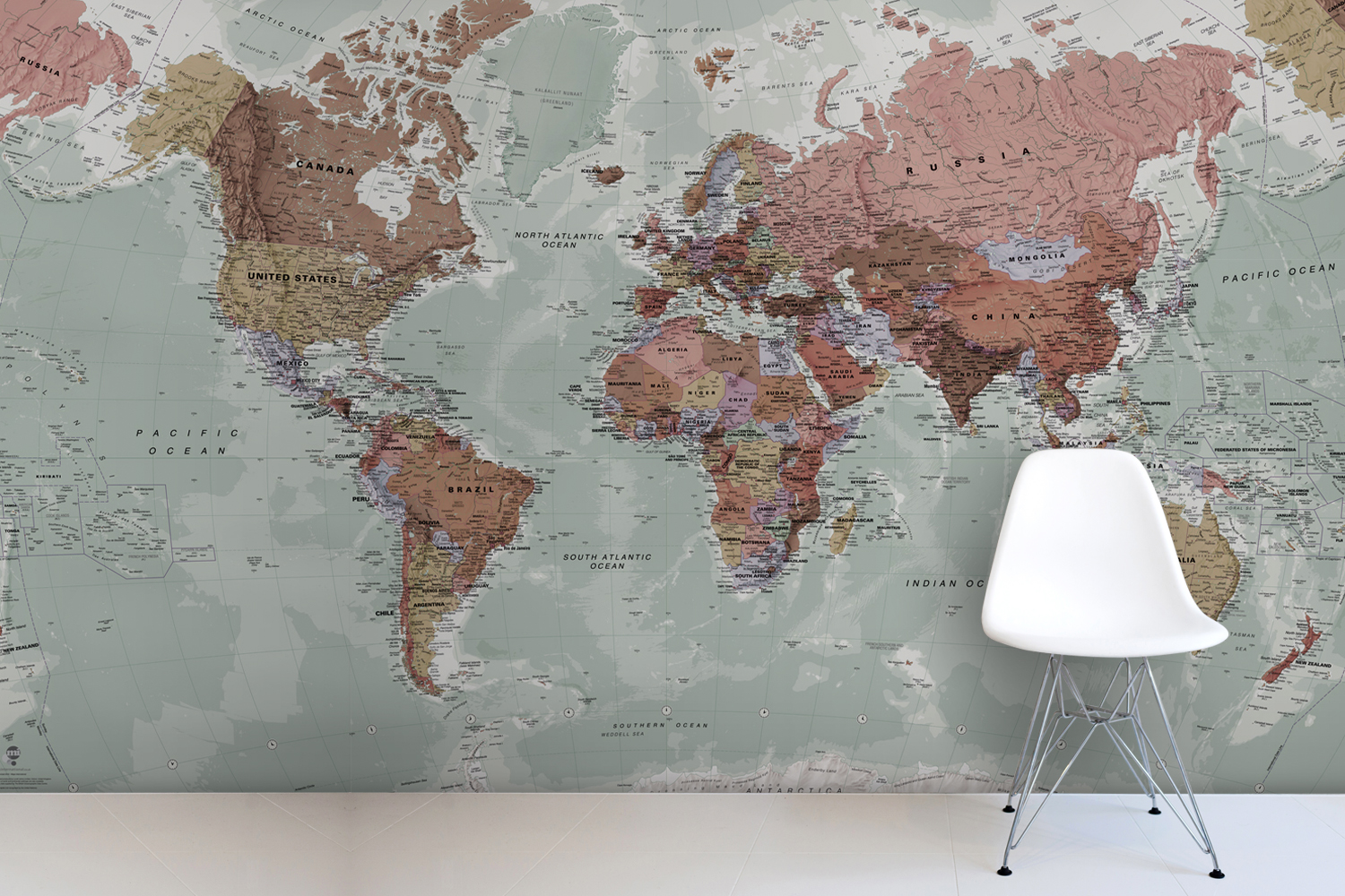 World Map Wallpaper UK WallpaperSafari – Map World Mural