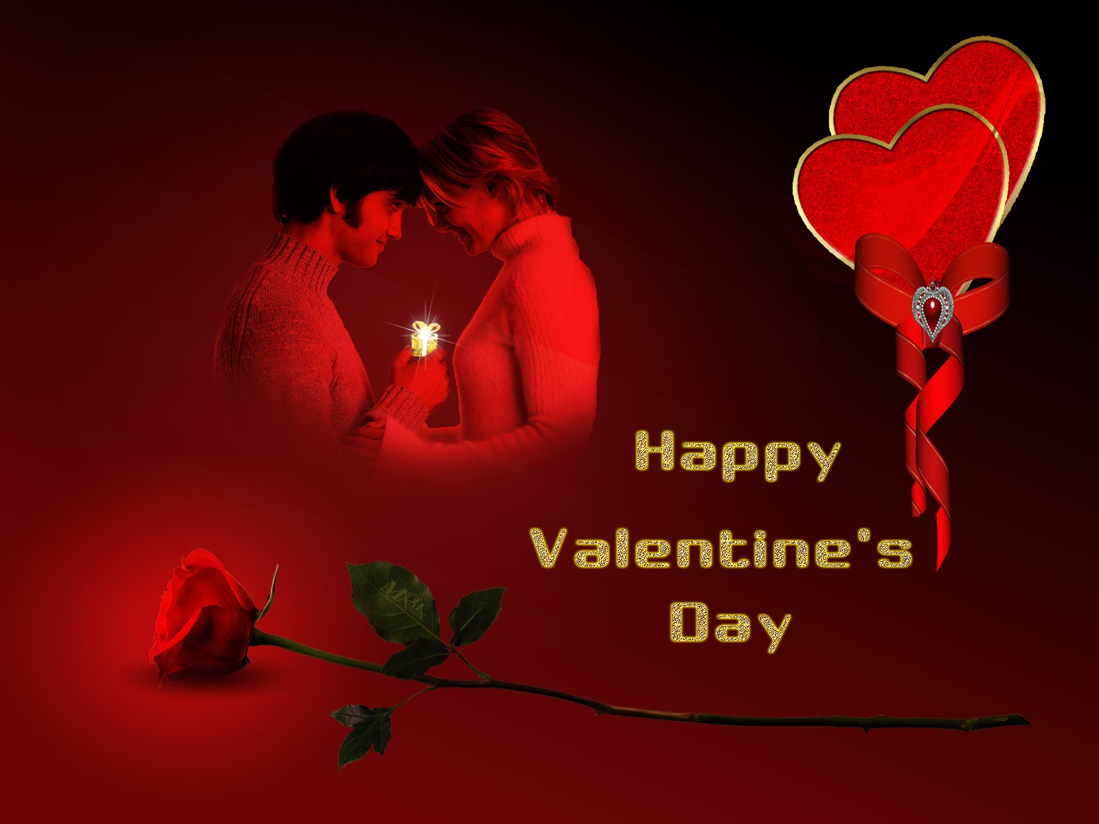 Couple in Love Happy Valentines Day Wallpaper Download 1600x1200