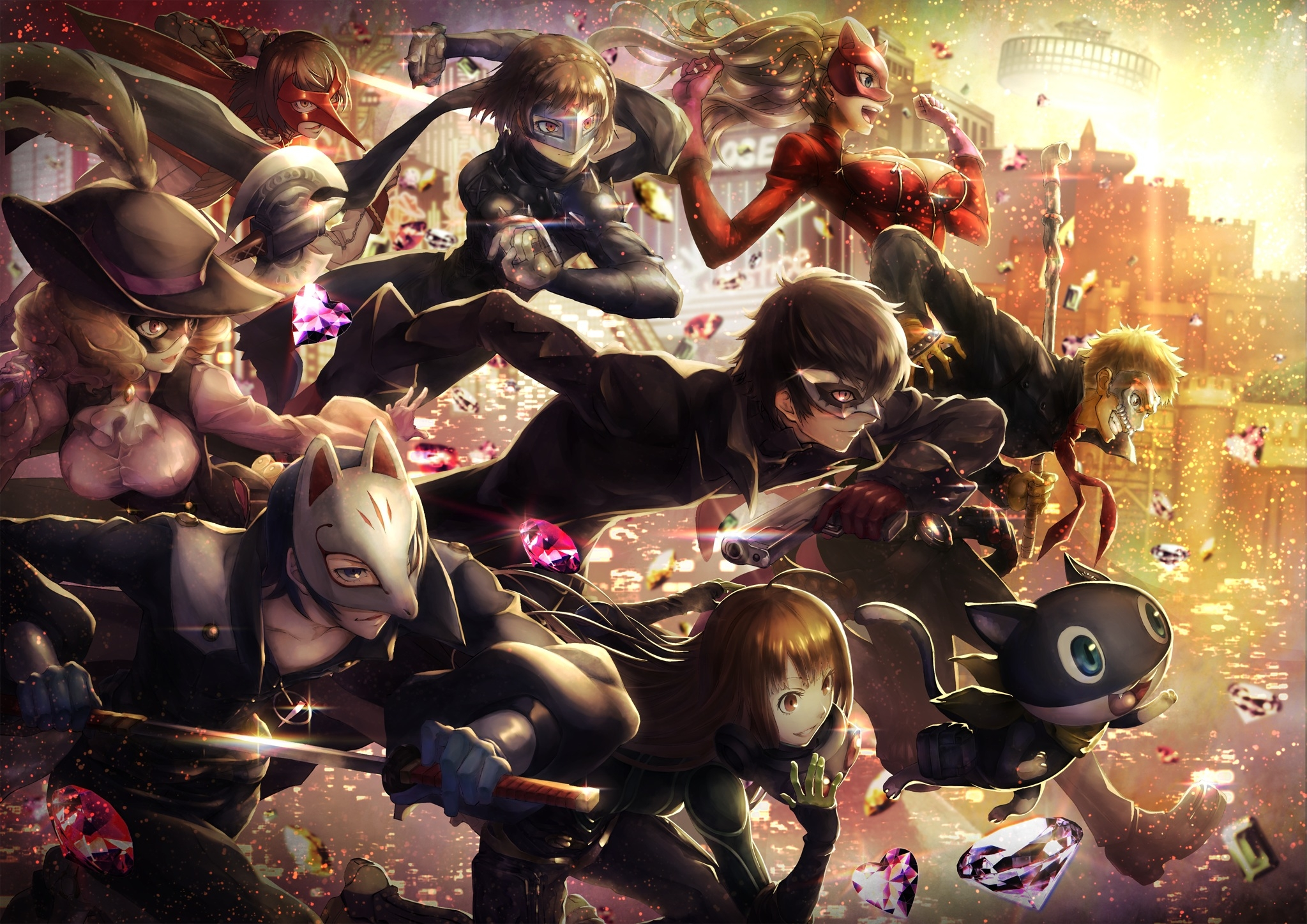 Wallpaper Persona 5 Akechi Goro Kurusu Akira Okumura Haru 2047x1447