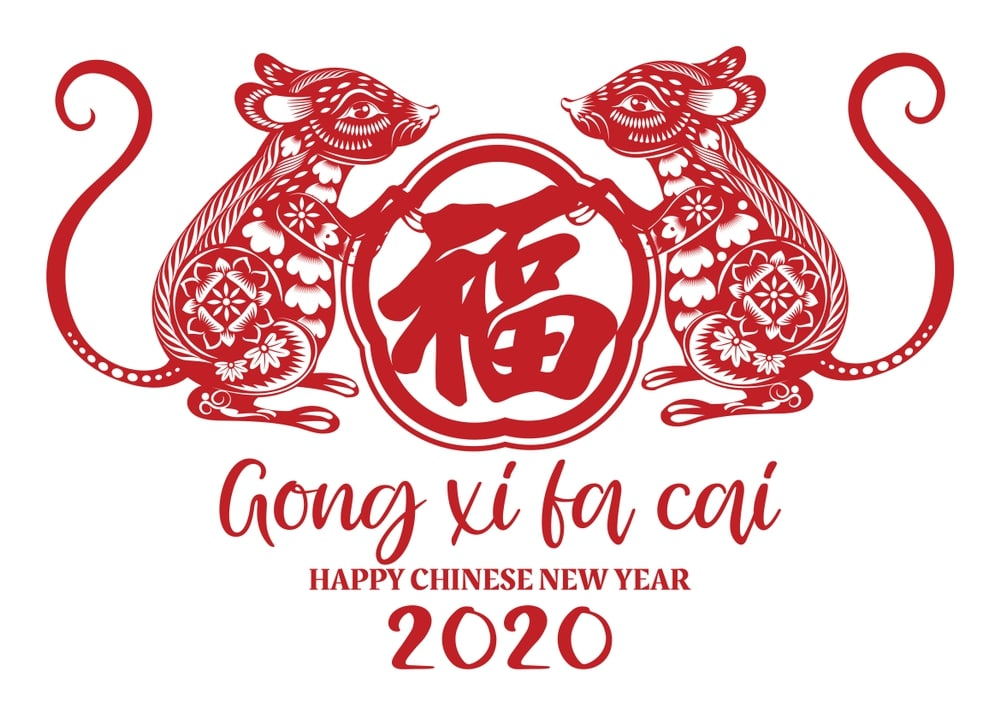 Happy chinese new year 2020 Zodiac sign year of the rat This 1000x707