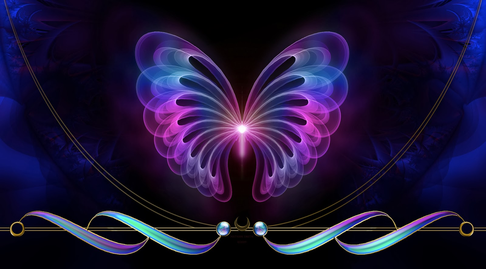Abstract Butterfly Wal... Neon Butterfly Wallpaper