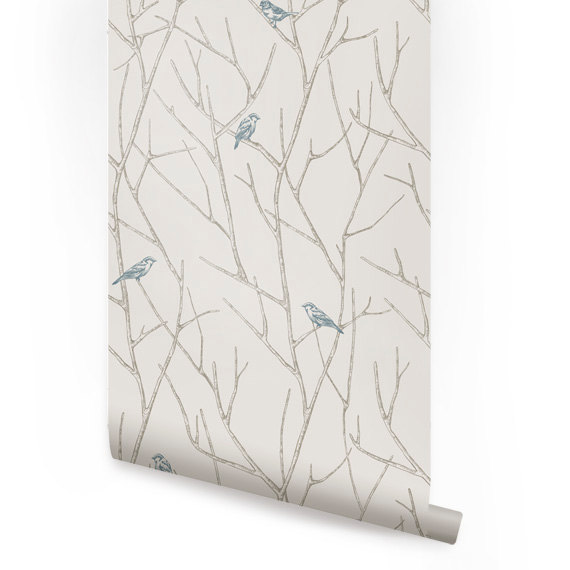 Branch Birds Blue Peel Stick Fabric Wallpaper Repositionable 570x570