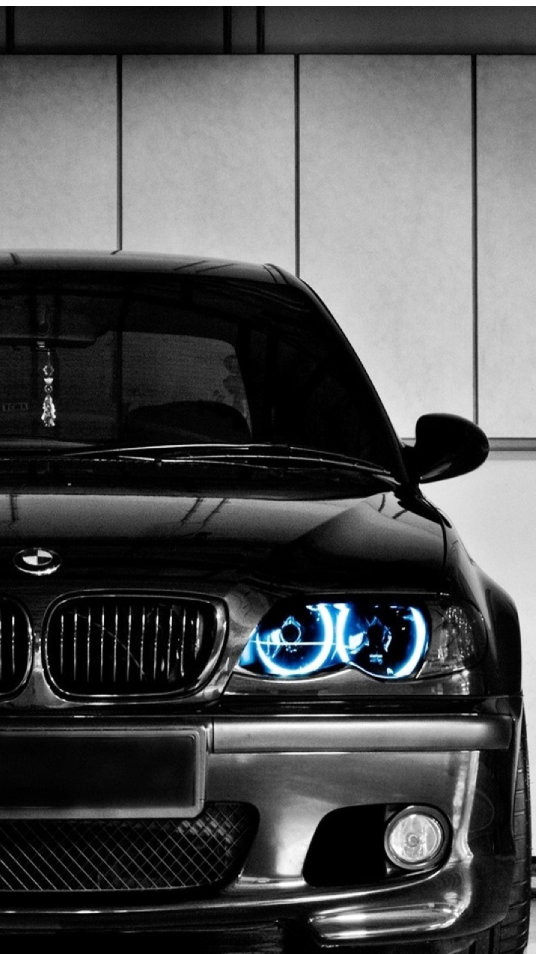 Black BMW Front Blue LED Android Wallpaper download 1080x1920