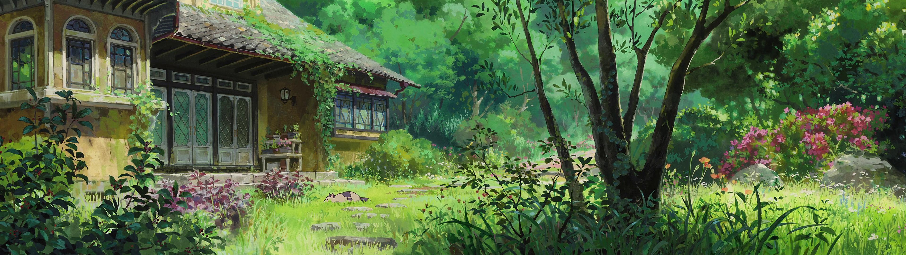 High res dual screen Studio Ghibli desktop wallpapers 3840x1080