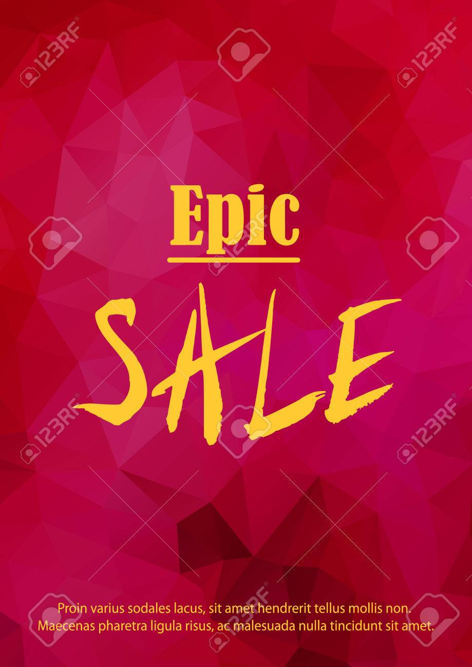 Sale Announcement Banner Epic Sale Text On Red Garnet Gem 919x1300