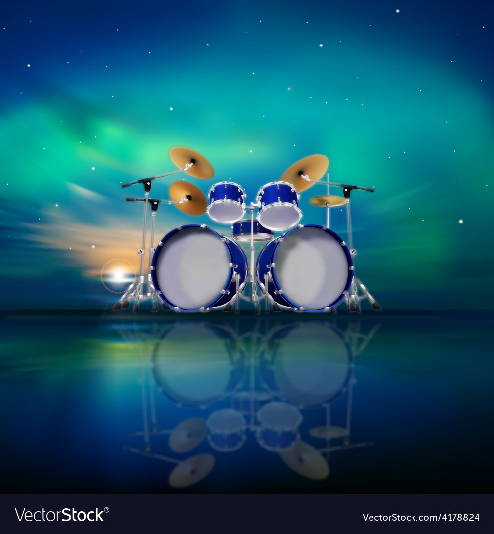 Abstract music background with sunrise drum kit Vector Image 1000x1080