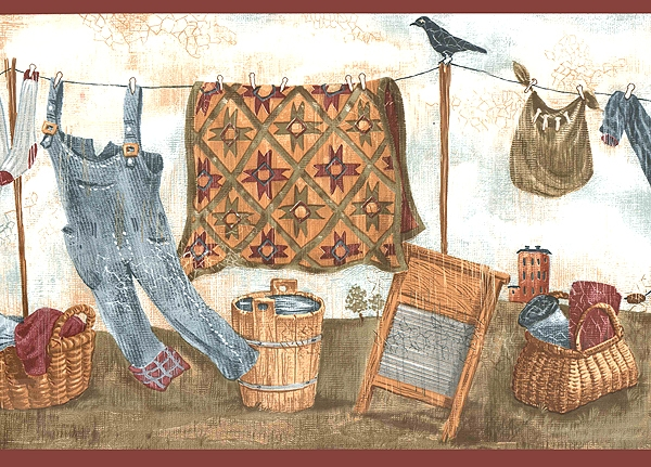 Country Laundry Wallpaper Border WT1046B room clothesline 600x431