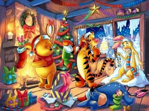 winnie the pooh warming himself by fire