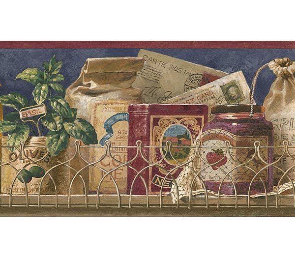 Navy Blue Shelf Wallpaper Border   Kitchen Bathroom Wallpaper 600x525