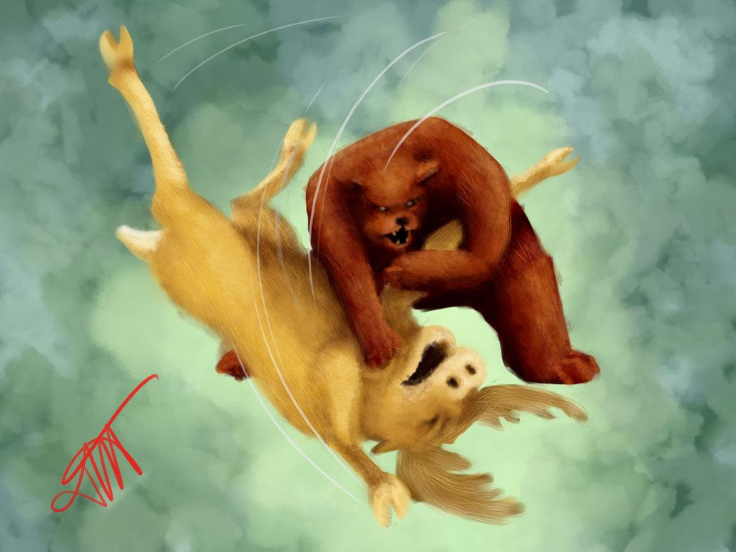 Bear Vs Moose by JessKristen 1032x774