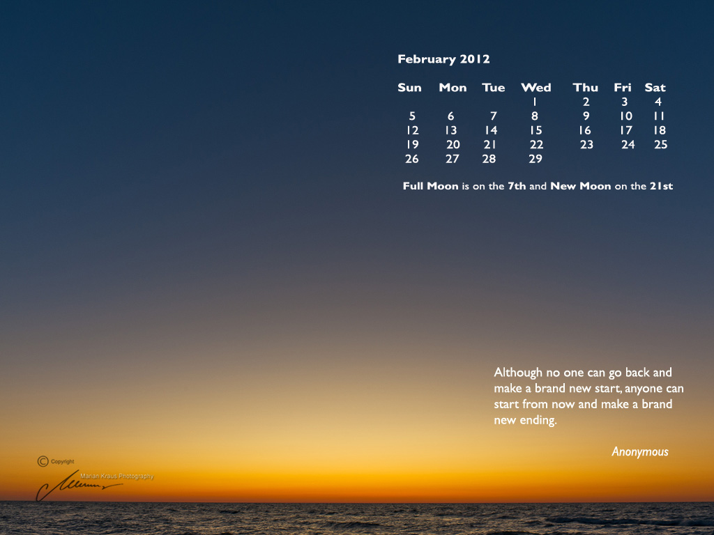 best wallpaper for desktop calendar download for February 2012 1024x768
