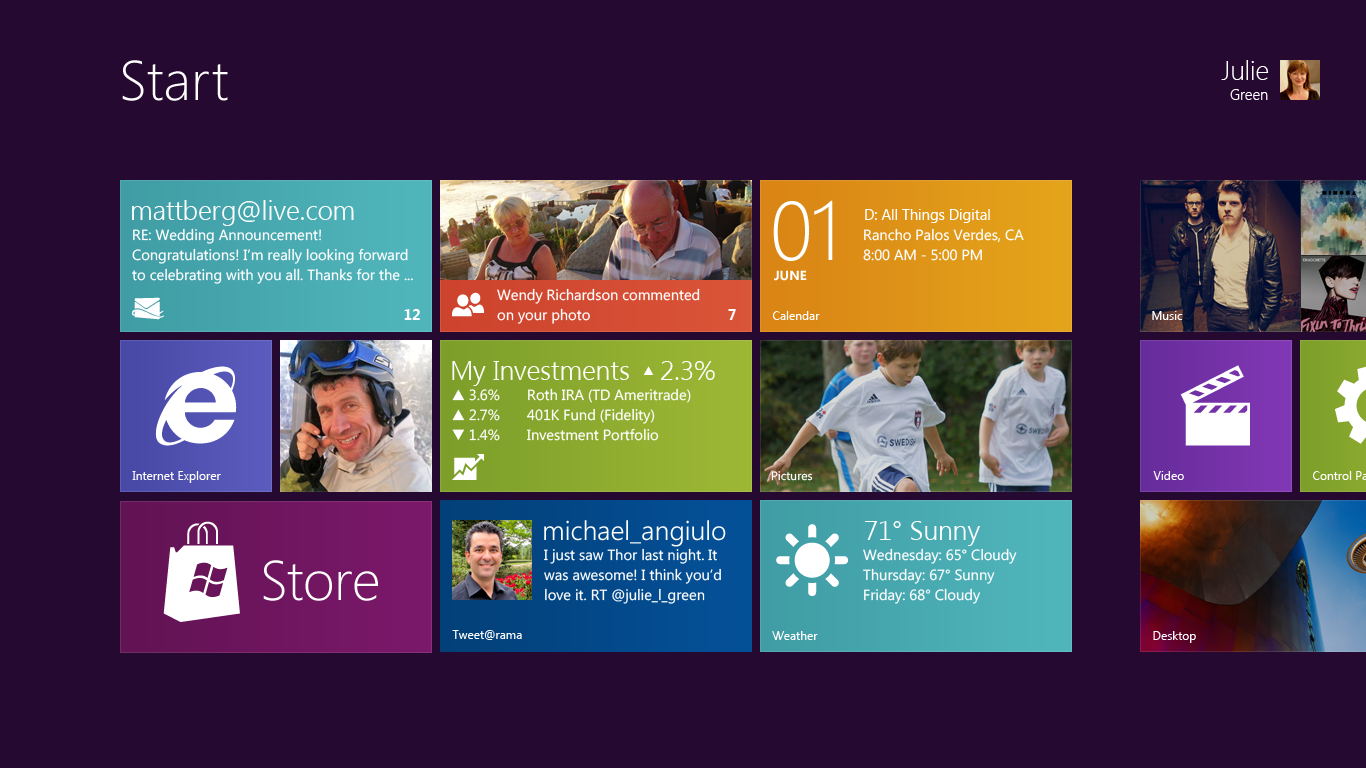 Microsoft revela tela inicial do Windows 8 Tecnoblog 1366x768